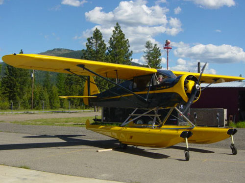 Modified-PA12-Piper-with-Warner-engine-Fairchild-struts-2200-amphibious-Montana-Float